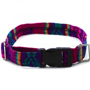 Pet dog collar with Aztec inspired tribal print pattern in hot pink, purple, and multicolored color combination.