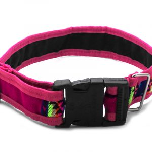 Pet dog collar with Aztec inspired tribal print pattern in pink, hot pink, and multicolored color combination.