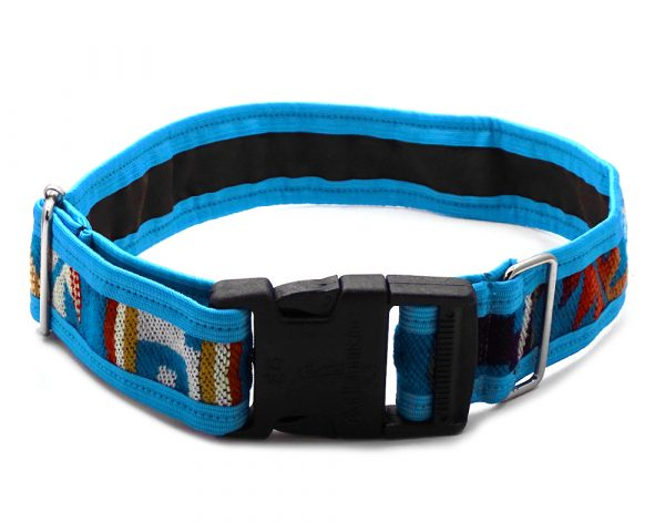 Pet dog collar with Aztec inspired tribal print pattern in turquoise blue, dark orange, golden yellow, light yellow, beige, and tan color combination.