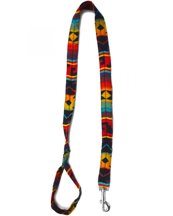 Pet dog leash with Aztec inspired tribal print pattern in red, golden yellow, orange, turquoise, teal, and black color combination.