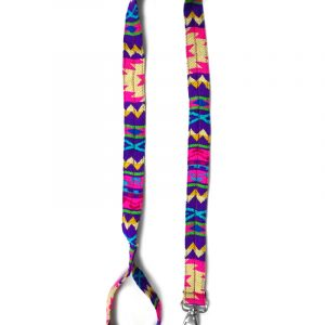 Pet dog leash with Aztec inspired tribal print pattern in purple, hot pink, beige, golden yellow, turquoise blue, and lime green color combination.