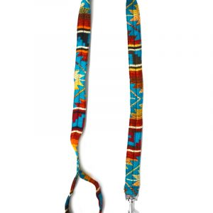 Pet dog leash with Aztec inspired tribal print pattern in turquoise blue, burgundy, red, orange, golden yellow, light yellow, and beige color combination.