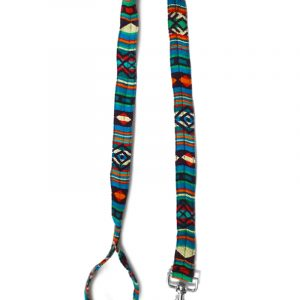 Pet dog leash with Aztec inspired tribal print pattern in teal green, turquoise, beige, red, orange, burgundy, and black color combination.