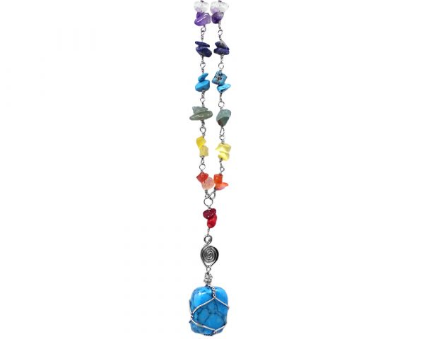 Handmade silver metal wire wrapped tumbled gemstone pendant with rainbow colored chakra chip stones on adjustable chain necklace in turquoise blue howlite.