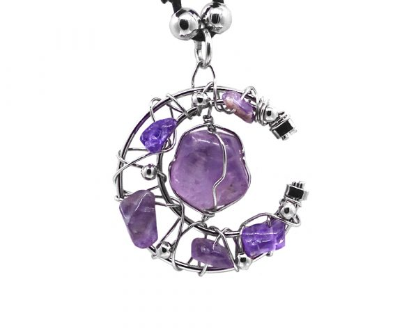 Silver metal wire wrapped crescent half moon tumbled gemstone pendant on adjustable necklace in purple amethyst.