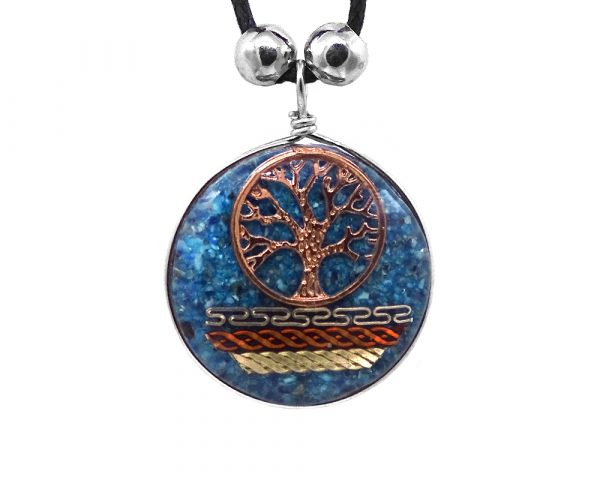 Round-shaped acrylic resin and crushed chip stone inlay pendant with copper tree of life charm and multicolored metal tribal pattern design on adjustable necklace in blue color.