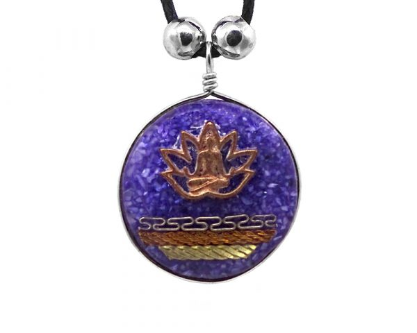 Round-shaped acrylic resin and crushed chip stone inlay pendant with copper lotus charm and multicolored metal tribal pattern design on adjustable necklace in indigo purple color.