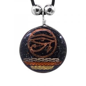 Round-shaped acrylic resin and crushed chip stone inlay pendant with copper Eye of Horus charm and multicolored metal tribal pattern design on adjustable necklace in black color.