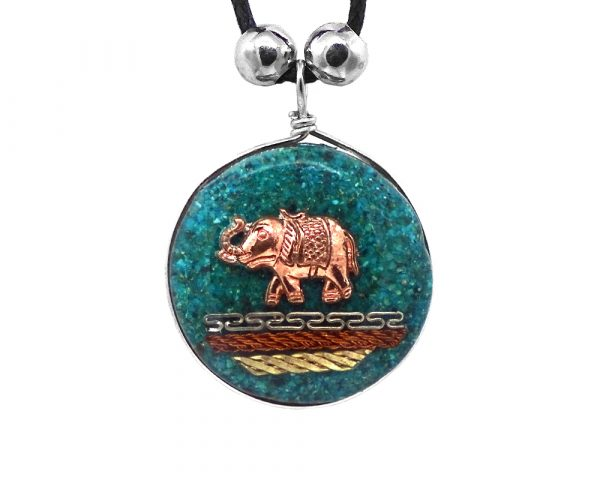 Round-shaped acrylic resin and crushed chip stone inlay pendant with copper elephant charm and multicolored metal tribal pattern design on adjustable necklace in teal green color.