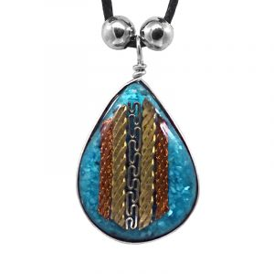 Teardrop-shaped acrylic resin and crushed chip stone inlay pendant with multicolored metal tribal pattern design on adjustable necklace in turquoise blue color.