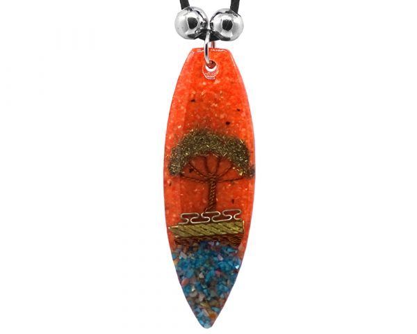 Ellipse-shaped acrylic resin and crushed chip stone inlay pendant with wired tree of life and multicolored metal tribal pattern design on adjustable necklace in orange color.