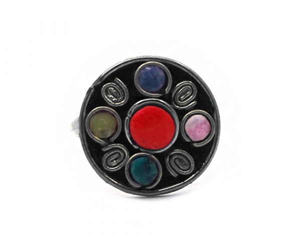 Five mini round-shaped gemstone cabochons and metal swirls on alpaca silver metal ring in red jasper and multicolored stones.