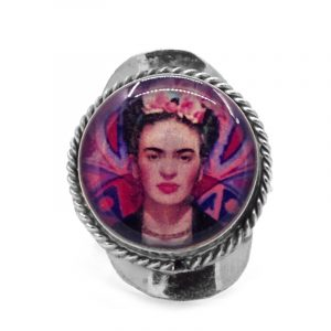 Round-shaped acrylic Frida Kahlo face graphic design on alpaca silver metal ring with rope edge border in pink, dark pink, indigo, peach, and black color combination.