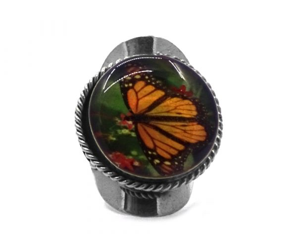 Round-shaped acrylic butterfly graphic design on alpaca silver metal ring with rope edge border in orange, black, red, and green color combination.
