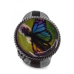 Round-shaped acrylic butterfly graphic design on alpaca silver metal ring with rope edge border in orange, turquoise blue, purple, lime green, and black color combination.