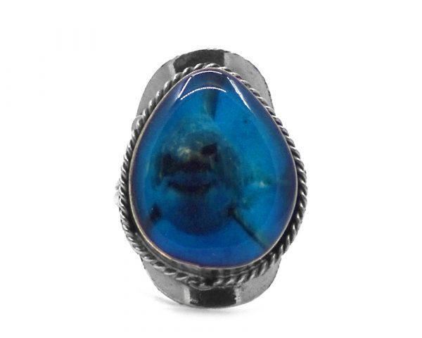 Teardrop-shaped acrylic shark graphic design on alpaca silver metal ring with rope edge border in turquoise blue and gray color combination.