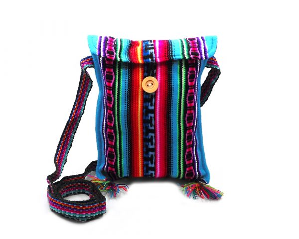 Small slim square purse bag with multicolored tribal print striped pattern and fringe in turquoise blue color.