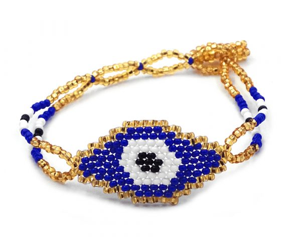 Czech glass seed bead double strand bracelet with beaded evil eye centerpiece in gold, blue, white, and black color combination.