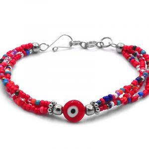 Seed bead multi strand bracelet with evil eye bead centerpiece in red, white, black, and multicolored color combination.