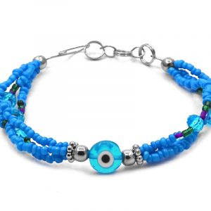 Seed bead and crystal bead multi strand bracelet with evil eye bead centerpiece in turquoise blue, white, black, purple, and green color combination.