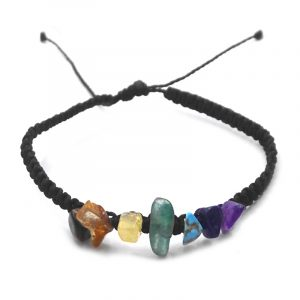 Macramé pull tie bracelet with chakra rainbow-colored chip stone centerpiece in black color.