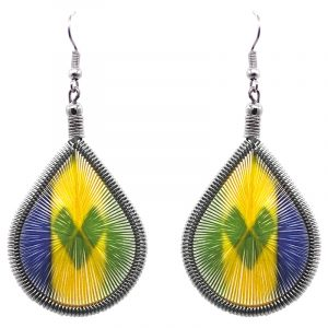 Teardrop-shaped thread dangle earrings with alpaca silver wire and Saint Vincent and the Grenadines flag graphic image.
