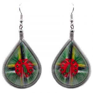Teardrop-shaped thread dangle earrings with alpaca silver wire and Dominica flag graphic image.