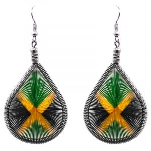 Teardrop-shaped thread dangle earrings with alpaca silver wire and Jamaican flag graphic image.