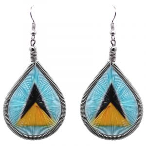 Teardrop-shaped thread dangle earrings with alpaca silver wire and Saint Lucia flag graphic image.