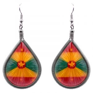 Teardrop-shaped thread dangle earrings with alpaca silver wire and Grenada flag graphic image.