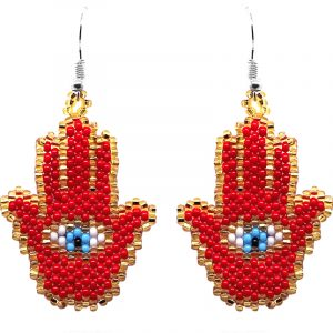Czech glass seed bead hamsa hand dangle earrings in red, gold, light blue, white, and black color combination.