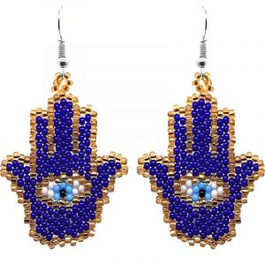 Czech glass seed bead hamsa hand dangle earrings in royal blue, gold, light blue, white, and black color combination.