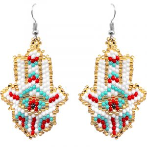 Multicolored Czech glass seed bead hamsa hand dangle earrings in gold, white, turquoise mint, and red color combination.
