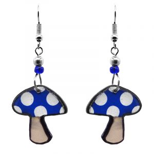 Amanita magic mushroom acrylic dangle earrings with beaded metal hooks in blue, beige, and white color combination.