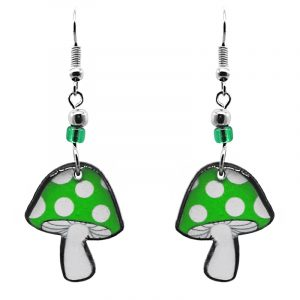Amanita magic mushroom acrylic dangle earrings with beaded metal hooks in lime green and white color combination.