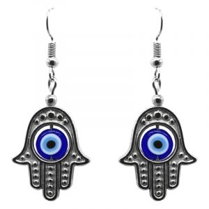 Silver metal hamsa hand charm dangle earrings with evil eye bead in blue, light blue, black, and white color combination.