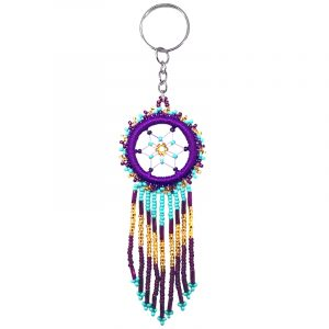 Handmade round thread and seed bead dream catcher keychain with long beaded dangles on silver metal key ring in dark purple, burgundy, turquoise mint, and gold color combination.