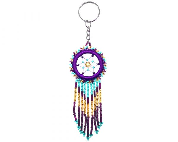 Round-shaped thread and seed bead dream catcher keychain with long beaded dangles on silver metal key ring in dark purple, burgundy, turquoise mint, and gold color combination.