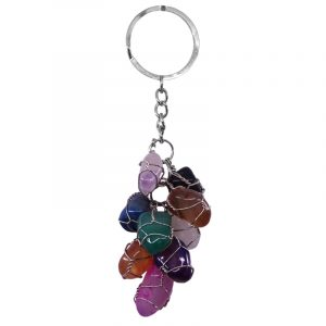 Nine wire wrapped tumbled gemstones in cluster dangle keychain on silver metal key ring in multicolored stone combination.