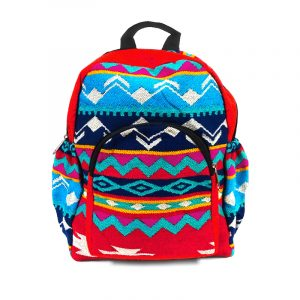 Handmade small cushioned backpack bag with multicolored Aztec inspired tribal print striped pattern material and vegan suede in red, turquoise, navy blue, teal, yellow, magenta, and white color combination.