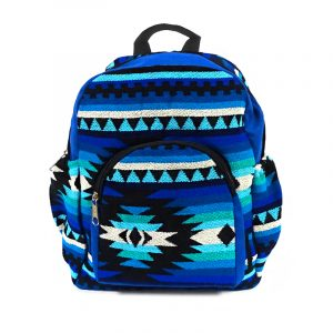 Handmade small cushioned backpack bag with multicolored Aztec inspired tribal print striped pattern material and vegan suede in blue, turquoise, teal, light blue, white, and black color combination.
