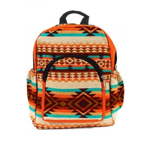 Handmade small cushioned backpack bag with multicolored Aztec inspired tribal print striped pattern material and vegan suede in orange, dark orange, beige, brown, burgundy, and teal green color combination.