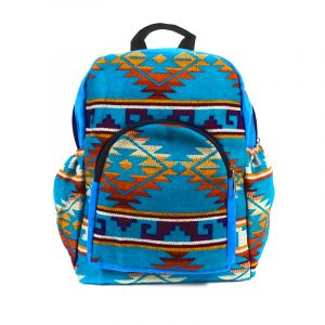 Handmade small cushioned backpack bag with multicolored Aztec inspired tribal print striped pattern material and vegan suede in turquoise blue, beige, golden yellow, dark orange, burgundy, and white color combination.