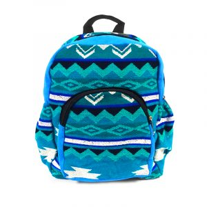Handmade small cushioned backpack bag with multicolored Aztec inspired tribal print striped pattern material and vegan suede in turquoise, blue, teal green, mint, black, and white color combination.