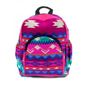 Handmade small cushioned backpack bag with multicolored Aztec inspired tribal print striped pattern material and vegan suede in hot pink, neon pink, blue, teal green, orange, purple, and off-white color combination.
