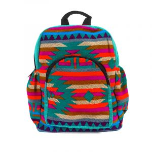 Handmade small cushioned backpack bag with multicolored Aztec inspired tribal print striped pattern material and vegan suede in teal green, red-orange, magenta, brown, beige, and turquoise color combination.