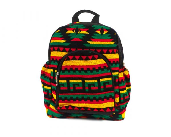 Small cushioned backpack bag with multicolored Aztec inspired tribal print striped pattern material and vegan suede in Rasta colors.