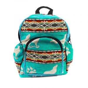 Handmade small cushioned backpack bag with multicolored Aztec inspired tribal print striped pattern and southwest animal design material and vegan suede in turquoise, mint teal, dark orange, dark red, gray, and beige color combination.