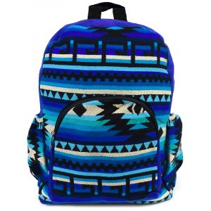 Handmade large cushioned backpack bag with multicolored Aztec inspired tribal print striped pattern material and vegan suede in blue, turquoise, teal, light blue, white, and black color combination.