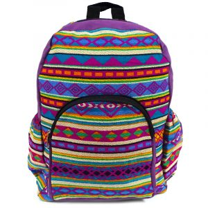 Handmade large cushioned backpack bag with multicolored Aztec inspired tribal print striped pattern material and vegan suede in purple, magenta pink, turquoise, light blue, orange, yellow, green, and beige color combination.